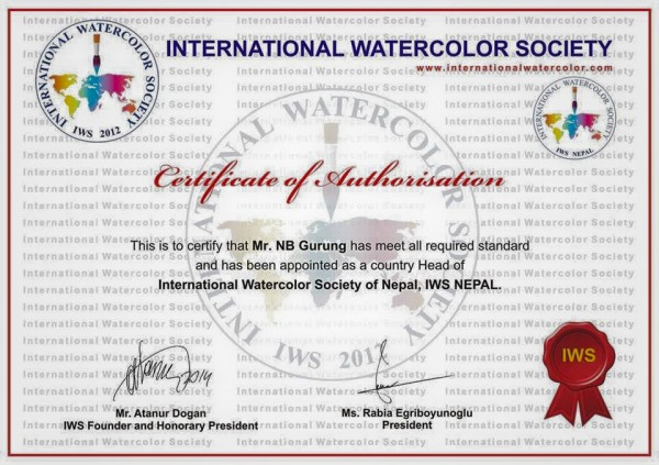 Internationa Watercolour Society Certificate
