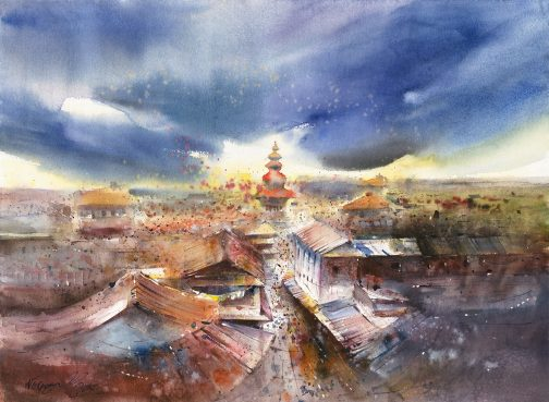 Watercolour - Bhaktapur Sky