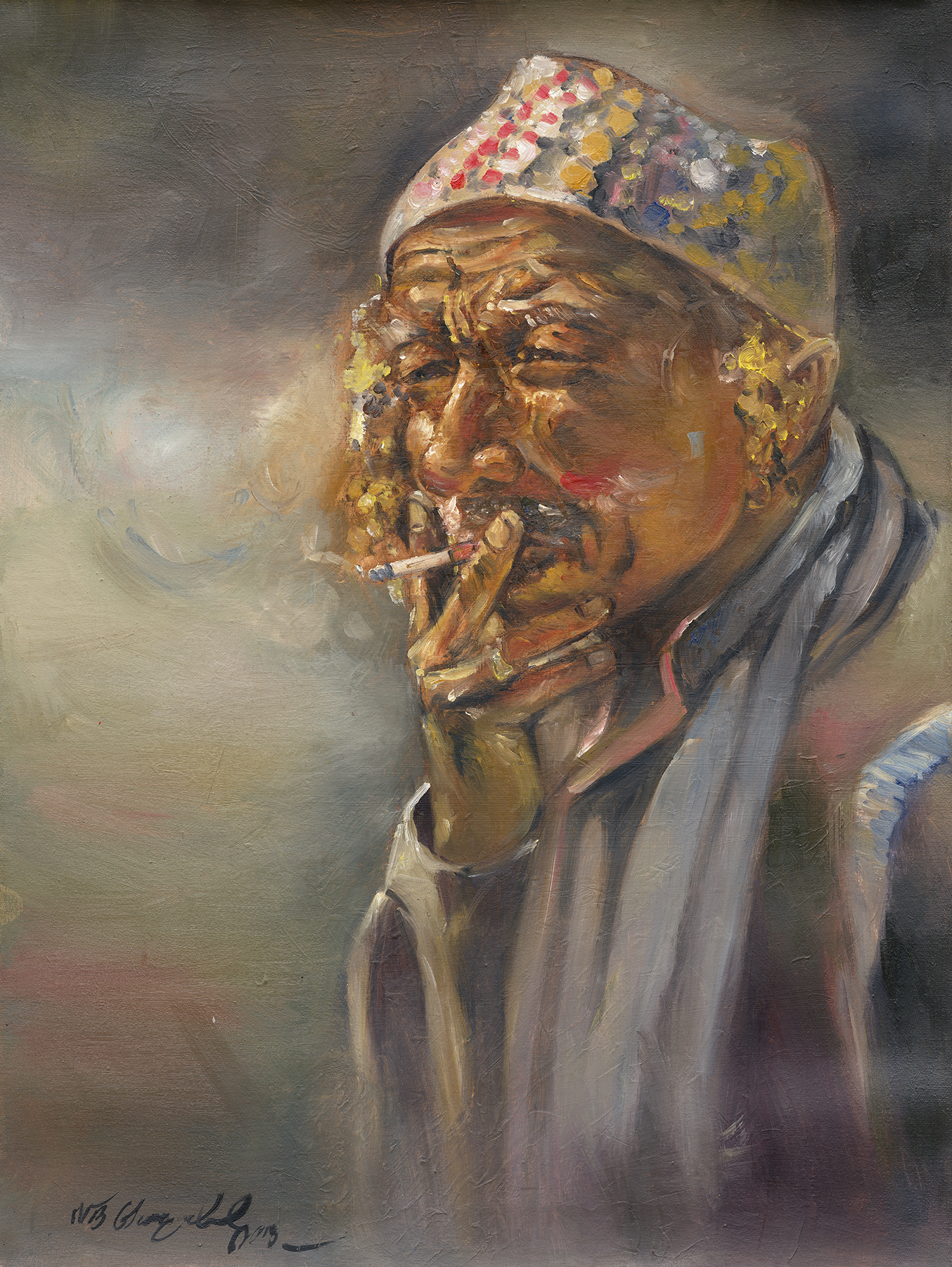 acrylic smoking nb gurung watercolour