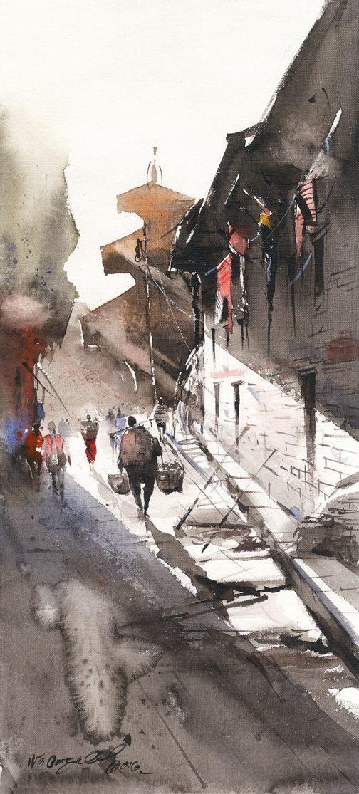 Street 2 Watercolour art-nepal