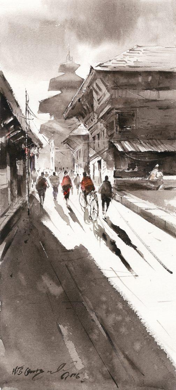 Street 3 - Watercolour - art - nepal